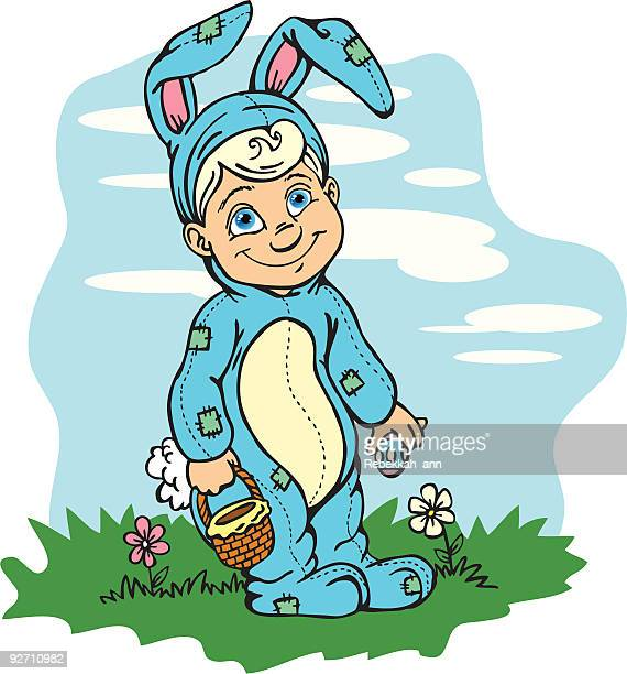 easter bunny boy - easter bunny costume stock illustrations, clip art, cartoons, & icons