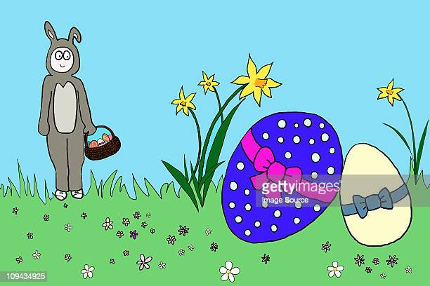 easter bunny with easter eggs, illustration - easter bunny costume stock illustrations, clip art, cartoons, & icons