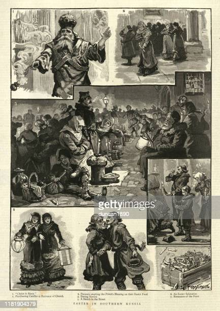 easter celebrations in southern russia, 19th century - happy easter in russian stock illustrations