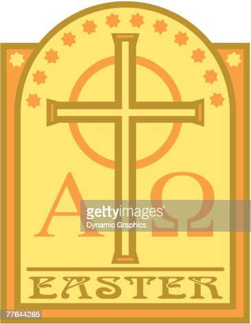 Easter Cross With Alpha Omega Symbols Vector Art Getty Images