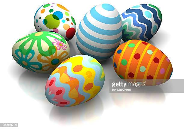 6 easter eggs - medium group of objects stock illustrations, clip art, cartoons, & icons