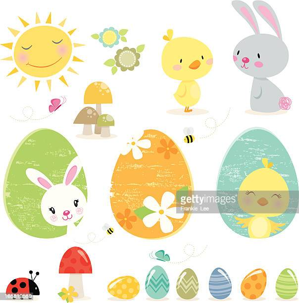 easter elements - easter bunny stock illustrations