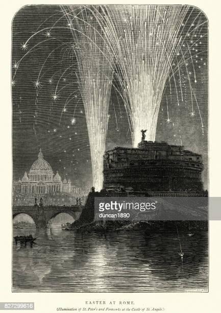 easter firework display rome, 19th century - castel sant'angelo stock illustrations