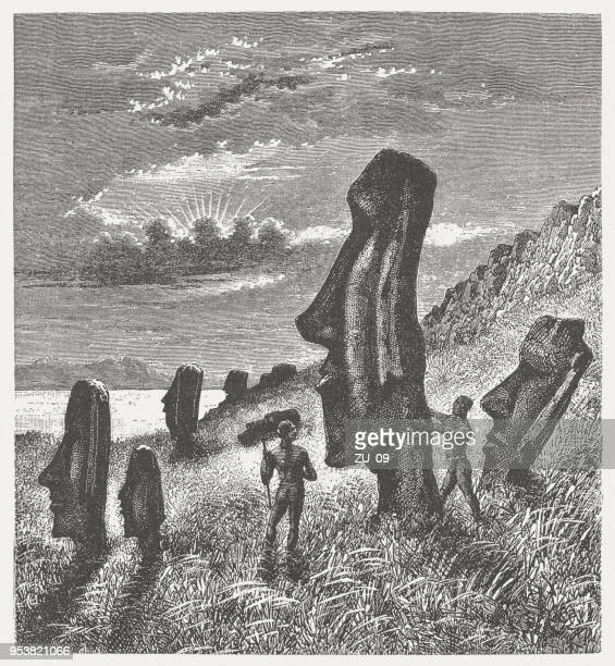Easter Island Beaches: World's Best Moai Statue Rapa Nui Stock Illustrations