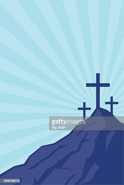 easter mountain - resurrection religion stock illustrations, clip art, cartoons, & icons