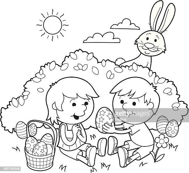 easter sharing – coloring in - easter bunny stock illustrations