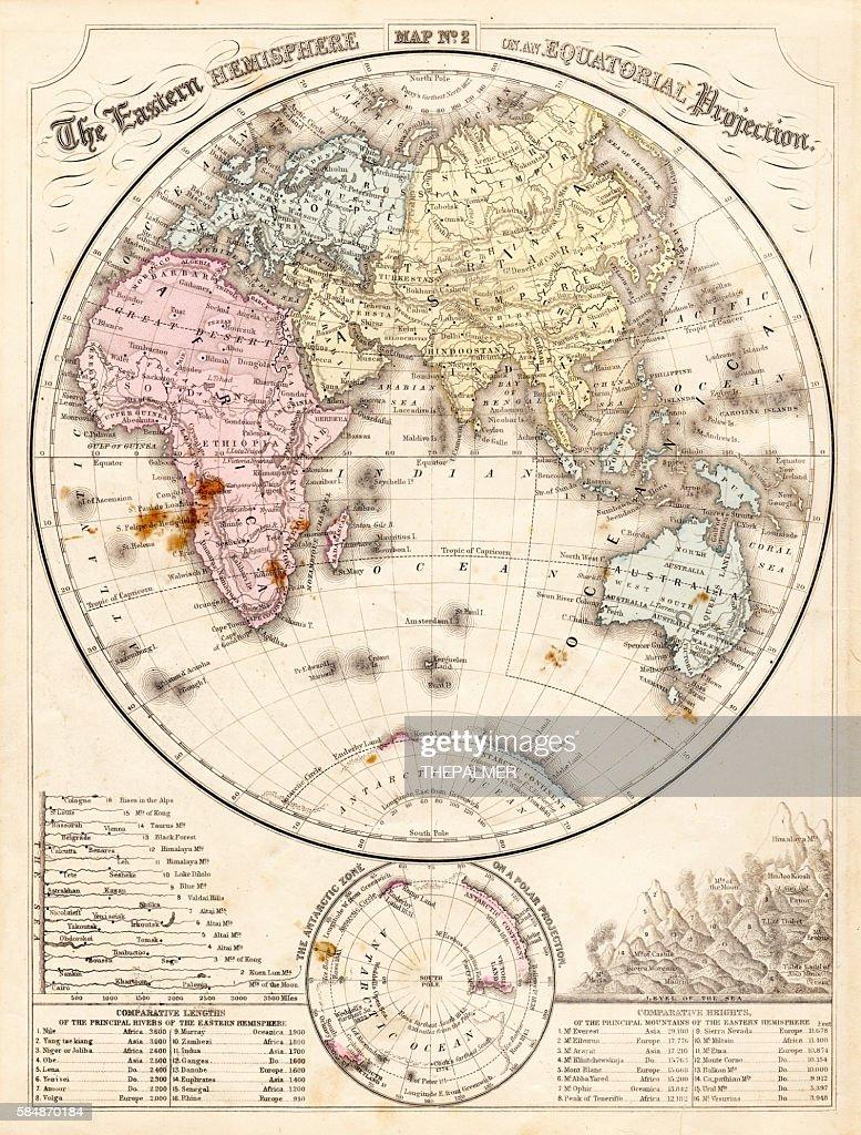 Eastern Hemisphere Map 1856 Stock Illustration | Getty Images