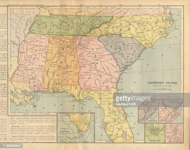 ilustrações, clipart, desenhos animados e ícones de leste dos estados do sul dos estados unidos da américa vitoriana antigo gravado mapa colorido, 1899 - atlanta georgia