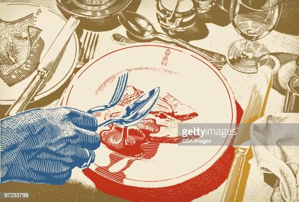 ilustraciones, imágenes clip art, dibujos animados e iconos de stock de comer - mesa de comedor