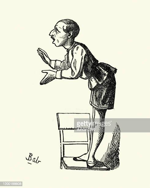 eccentic person on the chair, victorian london characters, 1850s - eccentric stock illustrations
