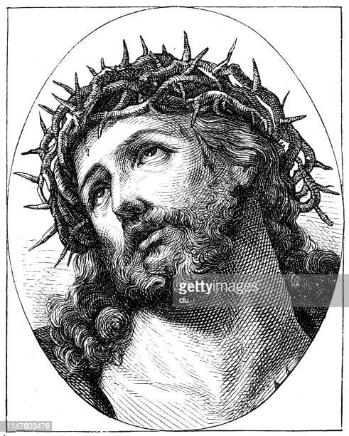 ilustraciones, imágenes clip art, dibujos animados e iconos de stock de ecco homo, por guido reni, jesús con la corona de espinas - corona de espinas