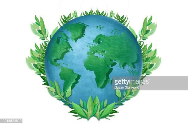 illustrazioni stock, clip art, cartoni animati e icone di tendenza di illustrazione di stock di pianeta terra ecologica - giornata mondiale della terra