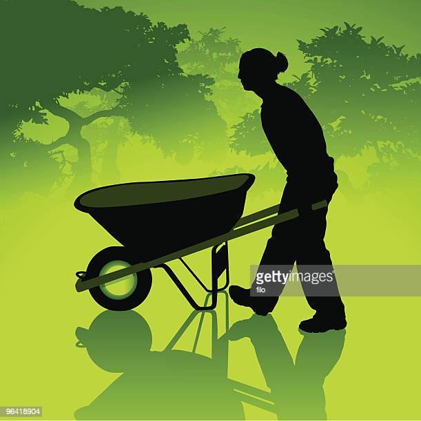 eco-gardening - wheelbarrow stock illustrations, clip art, cartoons, & icons
