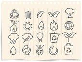 Ecology Icons set on grunge paper