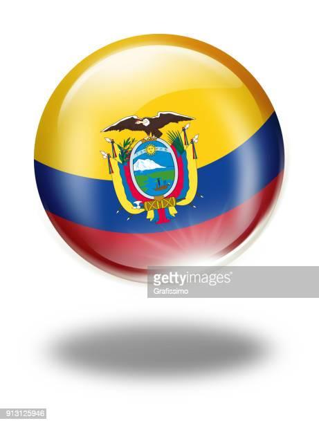 Ecuador button with flag isolated on white