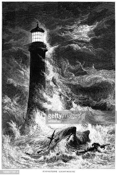 eddystone lighthouse with shipwreck in a storm (19th century engraving) - lighthouse stock illustrations