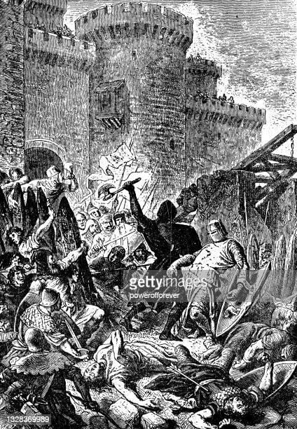 edinburgh castle being recaptured by edward iii of england - 14th century - recaptured stock illustrations