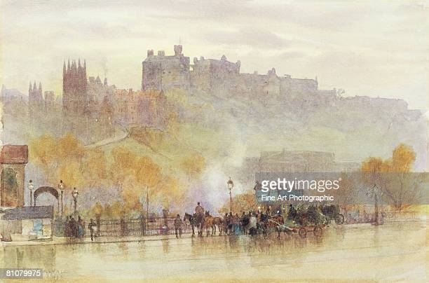 edinburgh castle - large group of people stock illustrations