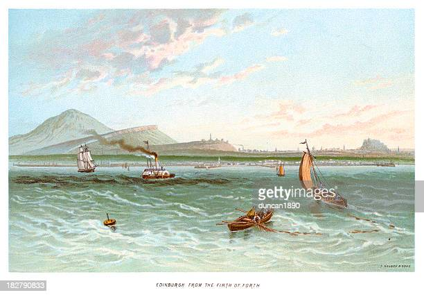 edinburgh from the firth of forth - seascape stock illustrations, clip art, cartoons, & icons