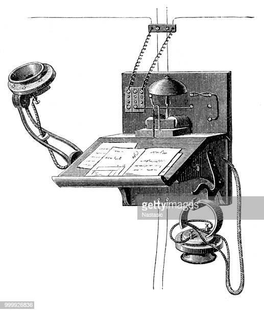 edison carbon telephone - thomas edison stock illustrations