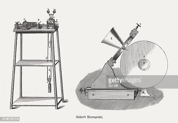 edison's phonograph from 1879, wood engravings, published in 1880 - gramophone stock illustrations, clip art, cartoons, & icons