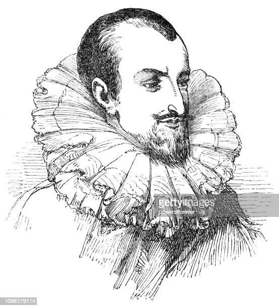 edmund spenser - neck ruff stock illustrations