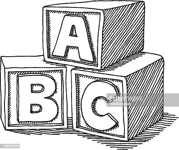 bildbanksillustrationer, clip art samt tecknat material och ikoner med education abc blocks drawing - bloco