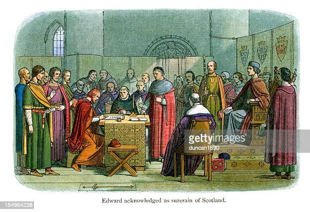 edward acknowledged as suzerain of scotland - king royal person stock illustrations, clip art, cartoons, & icons