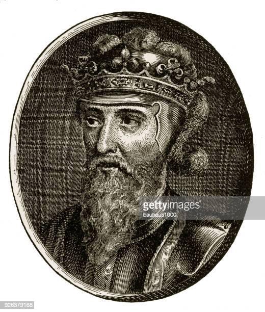edward iii, king of england, 1312-1377, engraving - normandy stock illustrations