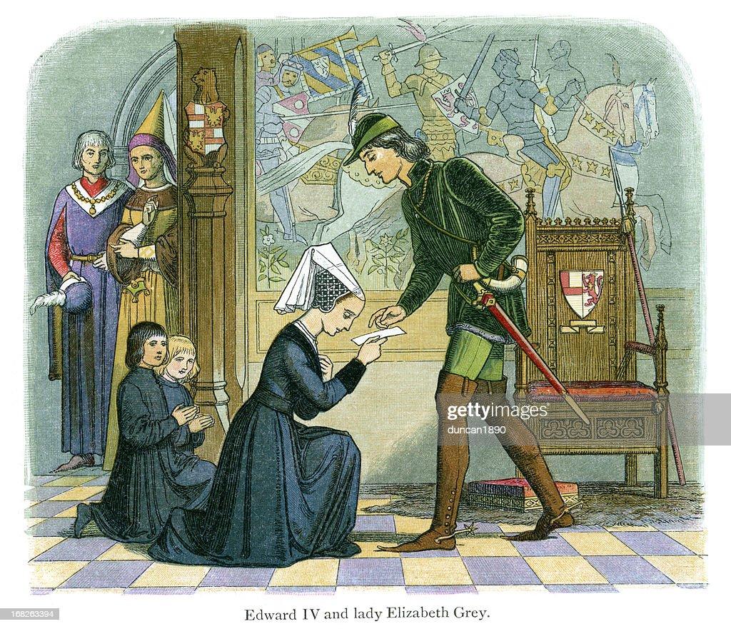 Edward IV and  Lady Elizabeth Grey : stock illustration
