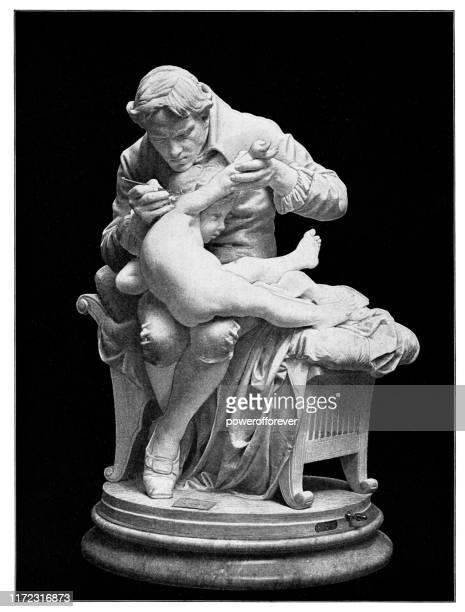 stockillustraties, clipart, cartoons en iconen met edward jenner vaccineren zijn zoon tegen pokken door giulio monteverde-19e eeuw - arts culture and entertainment
