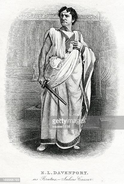 edward loomis davenport as the shakespeare character brutus - actor stock illustrations