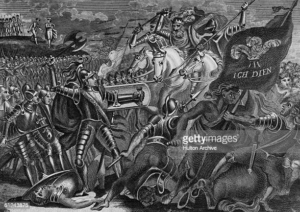 1346 Edward the Black Prince fighting at the Battle of Crecy during the Hundred Years War