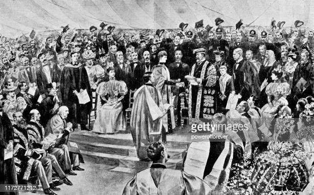 edward vii, prince of wales receiving a degree at oxford, england - 19th century - prince royal person stock illustrations