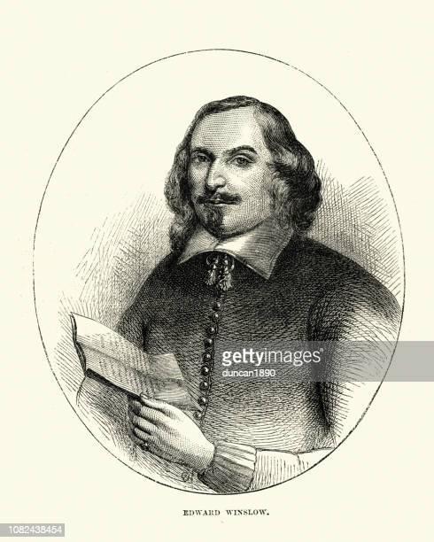 エドワード ・ ウィンスローは、メイフラワー号に乗ってアメリカの巡礼者のリーダー - 17世紀点のイラスト素材/クリップアート素材/マンガ素材/アイコン素材