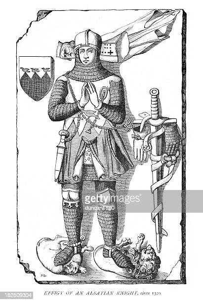 effigy of an alsatian knight 14th century - circa 14th century stock illustrations, clip art, cartoons, & icons