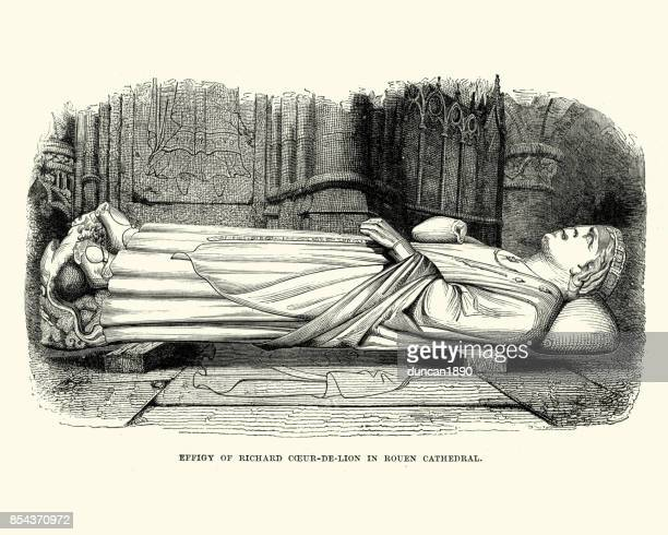 effigy of king richard the lionheart in rouen cathedral - rouen stock illustrations, clip art, cartoons, & icons