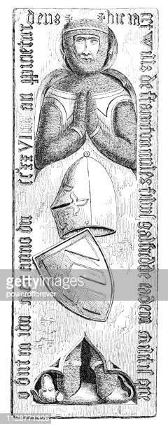 effigy tomb at staunton church in staunton, nottinghamshire, england - 14th century - effigy stock illustrations