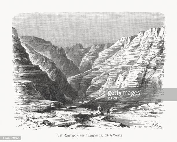 Egeri mountain pass in the Aïr Mountains, Niger, woodcut, 1897