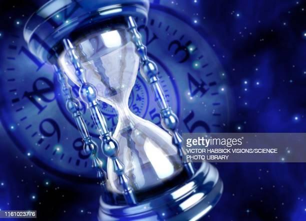 egg timer and clock, illustration - hourglass stock illustrations