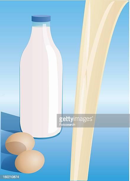 ilustraciones, imágenes clip art, dibujos animados e iconos de stock de eggs and milk - botella de leche