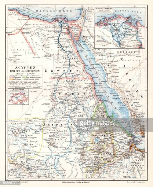 egypt darfur abyssinian map 1895 - horn of africa stock illustrations