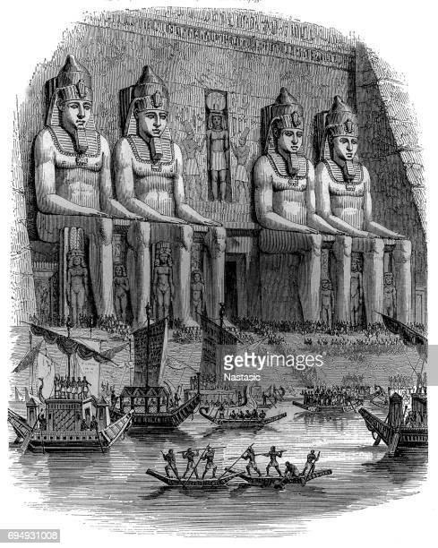 egypt: grand festivals in ancient egypt - archaeology stock illustrations
