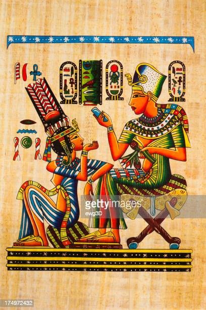 egyptian ancient papyrus - painting art product stock illustrations