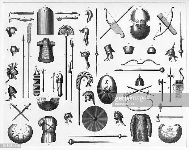 egyptian and persian weapons - archery stock illustrations