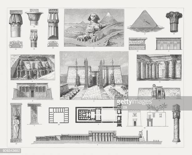 egyptian architecture, wood engravings, published in 1897 - thebes egypt stock illustrations