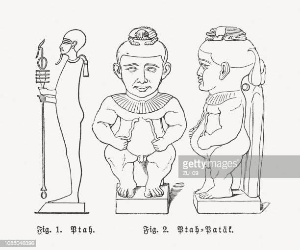 egyptian gods ptah and ptah-patek, egyptian mythology, woodcuts, published 1897 - scepter stock illustrations