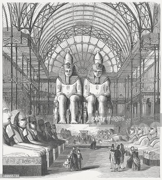 egyptian hall, great industrial exhibition in sydenham, 1851, published 1854 - borough of lewisham stock illustrations