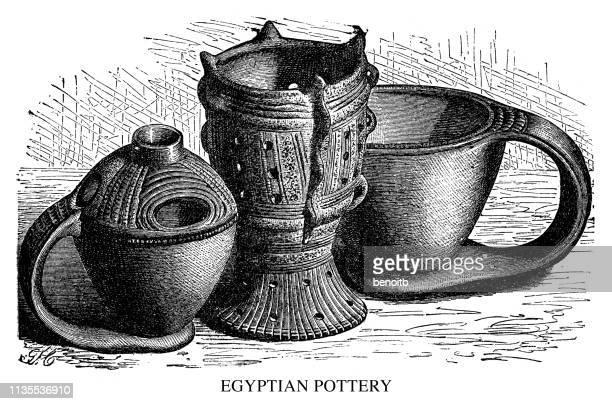 egyptian pottery - earthenware stock illustrations, clip art, cartoons, & icons