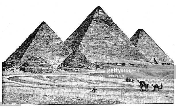 egyptian pyramids engraving 1894 - giza pyramids stock illustrations